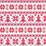 O teste padrão sem emenda do vetor do Natal ou do inverno, inspirado pela arte popular de Sami Lapland, bordado e bordado tradici Fotografia de Stock Royalty Free