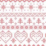 O teste padrão sem emenda do Xmas inspirou por testes padrões transversais de costura nórdicos ilustração royalty free
