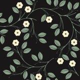 O teste padrão sem emenda elegante com flores e verde do marfim sae sobre ilustração stock