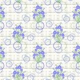 O teste padrão sem emenda floral, azul bonito dos desenhos animados floresce o fundo branco Fotografia de Stock Royalty Free