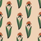 O teste padrão sem emenda floral com as flores alaranjadas da garatuja com verde sae no fundo bege Imagens de Stock