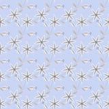 O teste padrão sem emenda floral, desenhos animados bonitos floresce claro - fundo azul ilustração stock