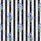 O teste padrão sem emenda floral, desenhos animados bonitos floresce o fundo branco Foto de Stock Royalty Free