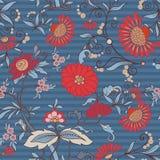 O teste padrão sem emenda floral, fundo com estilo do vintage floresce Imagens de Stock Royalty Free