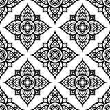 O teste padrão sem emenda floral inspirou pelo formulário de arte tradicional Tailândia ilustração do vetor