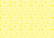O teste padrão sem emenda na linha ícone do estilo com bebê brinca o vetor resizable inteiramente editável do tema na cor amarela fotografia de stock royalty free