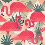 O teste padrão sem emenda na moda da praia exótica, retalhos ilustrou as folhas tropicais da banana do vetor floral Flamingos cor ilustração royalty free
