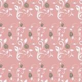 O teste padrão sem emenda retro ramifica rosas Fotografia de Stock Royalty Free