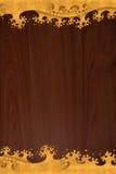 O teste padrão tailandês cinzela o ouro da onda na textura de madeira Fotos de Stock Royalty Free