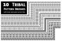 O teste padrão tribal escova a coleção Fotos de Stock Royalty Free