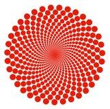 O teste padrão vermelho do sumário da espiral do ponto circunda sobre o fundo branco ilustração royalty free