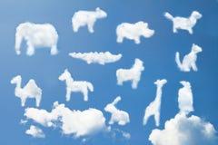 O teste padrão animal bonito dos desenhos animados nubla-se a forma Imagens de Stock