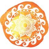 O teste padrão redondo na aquarela chapinha Imagem de Stock Royalty Free