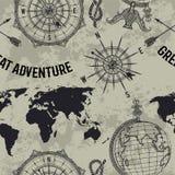 O teste padrão sem emenda com globo, compasso, mapa do mundo e vento do vintage aumentou Fotografia de Stock