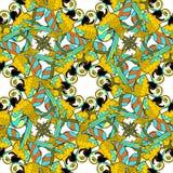 O teste padrão sem emenda com ouro circunda o papagaio das Caraíbas do divertimento da dança Fotografia de Stock Royalty Free