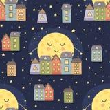 O teste padrão sem emenda da boa noite com lua e a cidade ajardinam Imagem de Stock Royalty Free