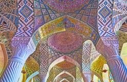 O teto da mesquita cor-de-rosa, Shiraz, Irã Fotos de Stock Royalty Free