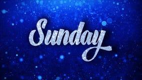 O texto azul de domingo deseja cumprimentos das partículas, convite, fundo da celebração