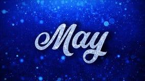 O texto azul de maio deseja cumprimentos das partículas, convite, fundo da celebração