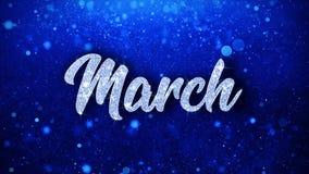 O texto azul de março deseja cumprimentos das partículas, convite, fundo da celebração vídeos de arquivo
