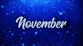 O texto azul de novembro deseja cumprimentos das partículas, convite, fundo da celebração
