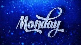 O texto azul de segunda-feira deseja cumprimentos das partículas, convite, fundo da celebração