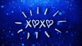 O texto azul de Xoxo deseja cumprimentos das partículas, convite, fundo da celebração