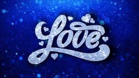 O texto azul do amor deseja cumprimentos das partículas, convite, fundo da celebração