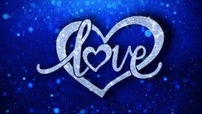 O texto azul do coração do amor deseja cumprimentos das partículas, convite, fundo da celebração