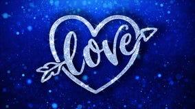 O texto azul do cora??o do amor deseja cumprimentos das part?culas, convite, fundo da celebra??o