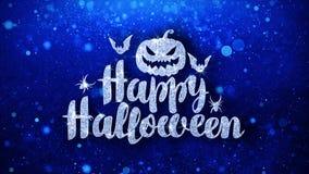 O texto azul feliz do Dia das Bruxas deseja cumprimentos das part?culas, convite, fundo da celebra??o