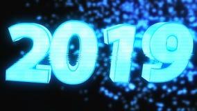o texto 2019 brilhante com efeito do holograma, 3d rende fundo gerado por computador para o ano novo e os feriados do Natal ilustração do vetor