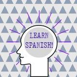 O texto da escrita aprende o espanhol Conceito que significa o ganho ou para adquirir o conhecimento de falar e de escrever o esb ilustração royalty free