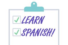 O texto da escrita aprende o espanhol Conceito que significa o ganho ou para adquirir o conhecimento de falar e de escrever a pla ilustração do vetor