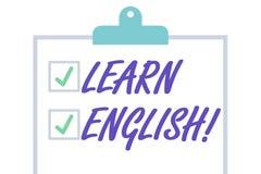 O texto da escrita aprende o ingl?s Conceito que significa o ganho ou para adquirir o conhecimento de falar e de escrever a placa ilustração royalty free