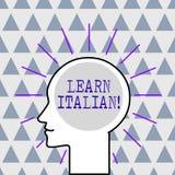 O texto da escrita aprende italiano Conceito que significa o ganho ou para adquirir o conhecimento de falar e de escrever o esboç ilustração stock