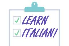 O texto da escrita aprende italiano Conceito que significa o ganho ou para adquirir o conhecimento de falar e de escrever a placa ilustração royalty free