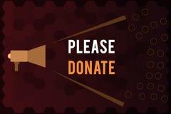 O texto da escrita doa por favor A fonte do significado do conceito fornece distribui contribui Grant Aid à caridade ilustração stock