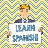 O texto da escrita da palavra aprende o espanhol Conceito do negócio para o ganho ou para adquirir o conhecimento de falar e de e ilustração royalty free