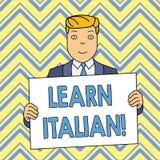 O texto da escrita da palavra aprende italiano Conceito do neg?cio para o ganho ou para adquirir o conhecimento de falar e de esc ilustração stock