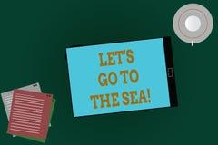 O texto da escrita da palavra deixou S é vai ao mar Conceito do negócio para que o convite tenha férias no verão da praia do para ilustração stock
