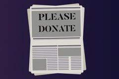 O texto da escrita da palavra doa por favor O conceito do negócio para a fonte fornece distribui contribui Grant Aid à caridade ilustração stock