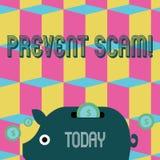 O texto da escrita da palavra impede Scam Conceito do negócio para o dinheiro leitão colorido das transações fraudulentas da prot ilustração royalty free
