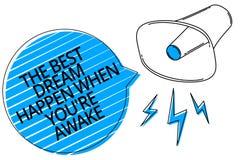 O texto da escrita da palavra o melhor sonho acontece quando você com referência a está acordado O conceito do negócio para sonho imagens de stock royalty free
