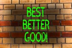 O texto da escrita da palavra melhora melhor bom Conceito do negócio para para melhorar-se que escolhe a melhor melhoria de decis fotografia de stock royalty free