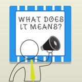 O texto da escrita da palavra o que o faz significa a pergunta O conceito do neg?cio para pedir a significado algo disse e n?o co ilustração stock