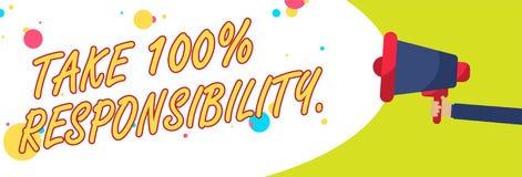 O texto da escrita da palavra toma a 100 a responsabilidade O conceito do negócio para seja responsável para a lista de objetos d Fotos de Stock