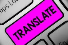 O texto da escrita da palavra traduz Conceito do negócio para uma outra palavra com o mesmo significado equivalente de um teclado imagens de stock