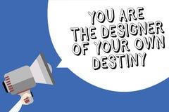 O texto da escrita que escreve o é o destino de Of Your Own do desenhista A vida do abraço do significado do conceito faz mudança fotografia de stock royalty free