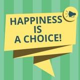 O texto da escrita que escreve a felicidade é uma escolha Motivado inspirado alegre feliz da estada do significado do conceito to ilustração do vetor